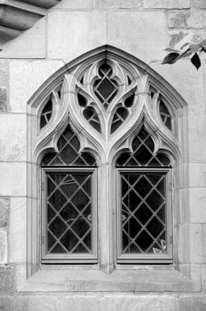 davenport: Beautiful window on facade of Davenport college, Yale