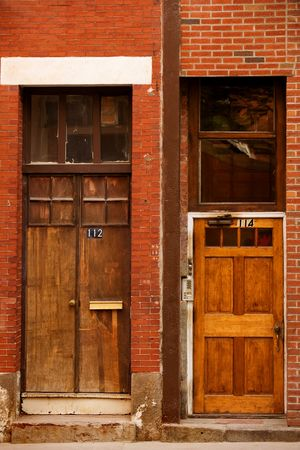 north   end: Old doors of historic North End buildings, Boston