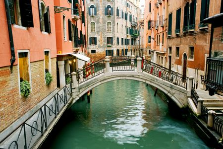Typical bridge across canal in Venice, Italy