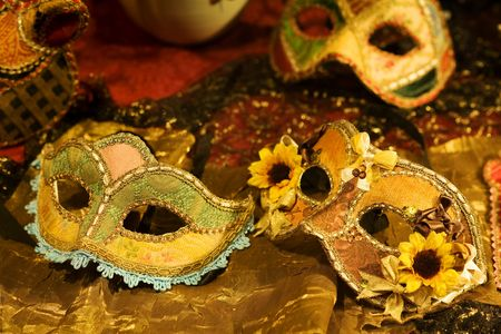 mardi gras mask: Handcrafted Venetian carnival mask on display at store