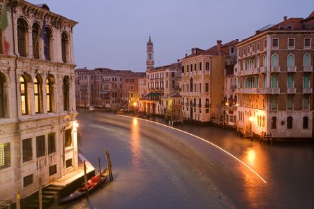 Houses along Venetian Grand Canal at twilight