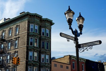 Corner of Washington and Third streets in downtown Hoboken, New Jersey