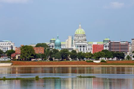 Harrisburg panorama with Capitol building across Susquehanna river