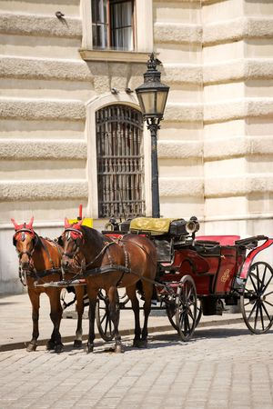 Horsedrawn carriage on the platz by the Hofburg Palace, Vienna photo