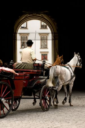 hofburg: Horse-driven carriage (fiacre) by the Hofburg Palace in Vienna