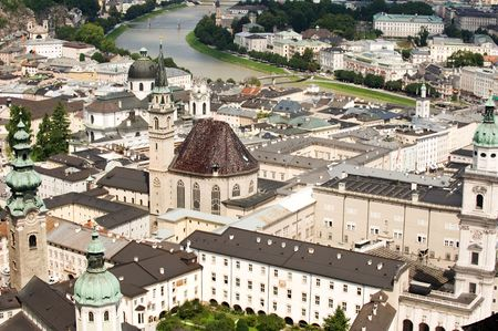 View of historical Salzburg downtown from the fortress