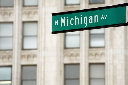 Michigan Avenue street sign, downtown Chicago