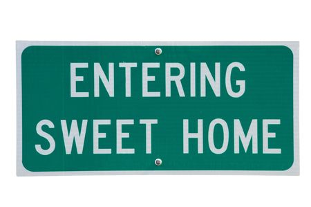 Genuine road sign for Sweet Home town in rural America photo