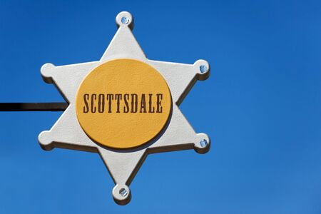 scottsdale: City sign in Old Town of Scottsdale, Arizona Stock Photo