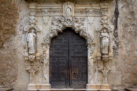 Exquisite Eingang der Mission San Jose, San Antonio Standard-Bild - 6563535