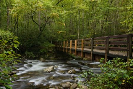 Brücke über Bergstrom in Great Smoky Mountains National park Standard-Bild - 6594988