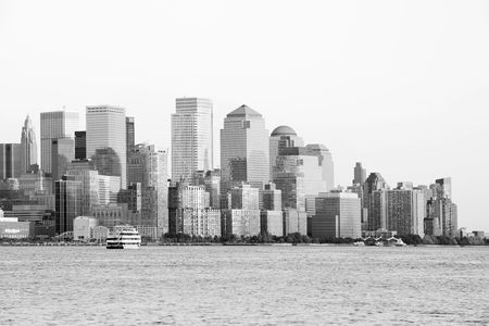 New York City downtown cityscape in black and white photo