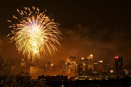 Independence day fireworks over Manhattan, New York city photo