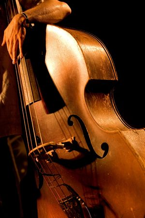 Hand of the musician on the contrabass at the live concert photo