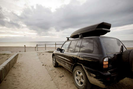 Nova Scotia: Car at Inverness beach, Cape Breton, Nova Scotia