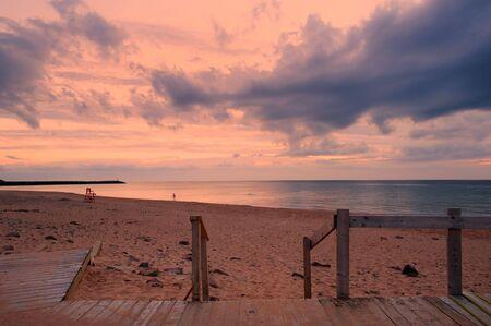 Sunset over beach in Inverness, Cape Breton, Nova Scotia