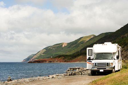 camper: RV at picnic area, Cape Breton Highlands National Park, Nova Scotia