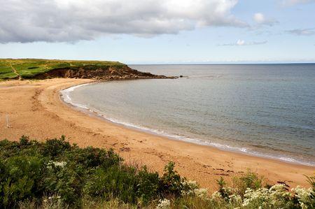 Sandy beach near Inverness, Cape Breton, Nova Scotia Stock Photo