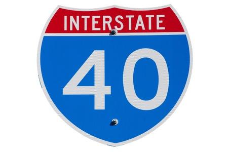 American Interstate-40 signe sur fond isolé Banque d'images - 8658870