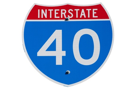 res: American Interstate I-40 sign on isolated background