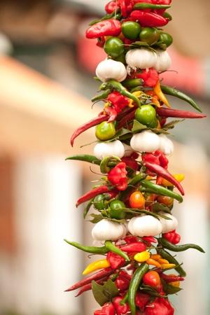 Hot pepper on historical Rialto market, Venice, Italy