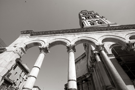 Diocletian palace ruins and cathedral bell tower, Split, Croatia  photo