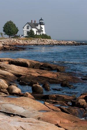 destination scenic: Prospect Harbor Point lighthouse in northern Maine Stock Photo