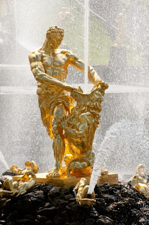 Famous Samson and the Lion fountain in Peterhof  photo