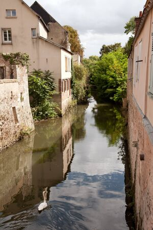 countryside landscape: River Eure running through old part of Chartres, France