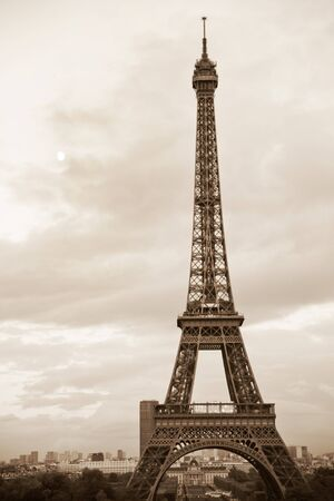 View of sepia toned Eiffel tower in Paris, France Stock Photo - 11402893