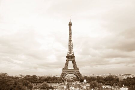 View of sepia toned Eiffel tower in Paris, France photo