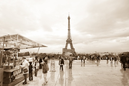 Paris, France, October 10, 2011 - Parisian city life around Eiffel tower