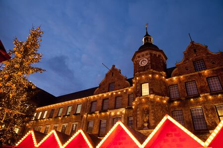 old town townhall: Christmas market and Altstadt town hall in Dusseldorf