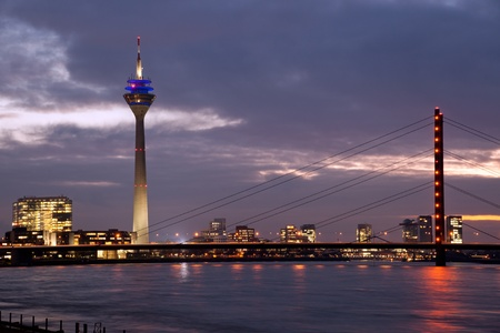 Rhine bridge with Tower in Media Harbor, Dusseldorf