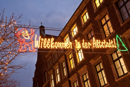Welcome sign to Altstadt Christmas market in Dusseldorf