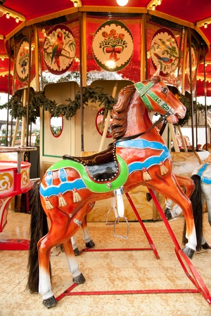 Antique carousel at Christmas market on Dusseldorf town square Stock Photo - 11403093