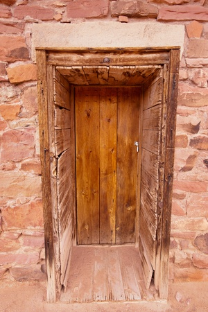 ghost town: A door of historic building at Lees Ferry