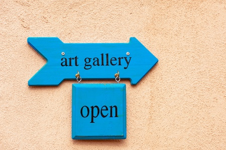 store sign: Art gallery sign in Albuquerque Old Town, New Mexico Stock Photo