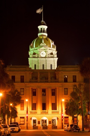 savanna: Savannah city hall building at night