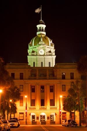 Savannah city hall building at night