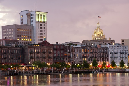 savanna: Waterfront Savannah Historic Disctrict at night Stock Photo