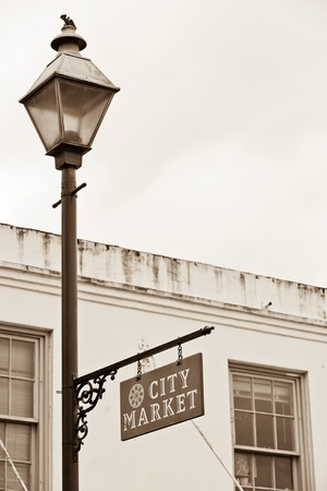 City Market sign on lamppost in Historic District of Savannah Stok Fotoğraf