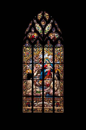 church window: Vitrage of the famous medieval St Malo church in historic Dinan