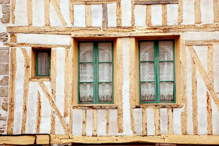 dinan: Windows of medieval timberframe house in historic Dinan, Brittany