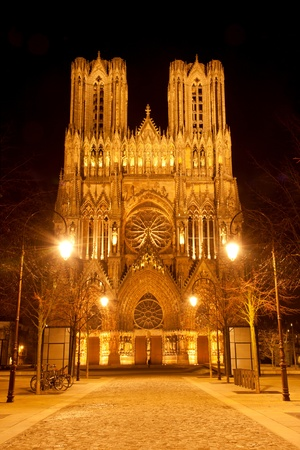 Famous Notre-Dame de Reims at night. 免版税图像