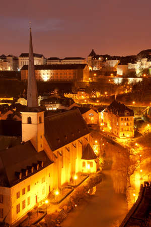 Night view of Grund and St John Church from Ville Haute, Luxembourg City