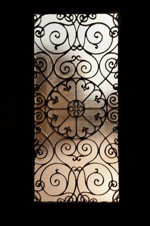 Door with metal ornament in historical part of Zagreb, Croatia
