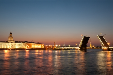 Iconic Palace  drawbridge with Vasilievsky Island, Saint Petersburg