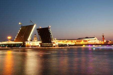 Iconic Palace  drawbridge with panorama of Vasilievsky Island, Saint Petersburg photo