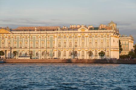 hermitage: Iconic facade of Winter Palace with Neva river, Saint Petersburg